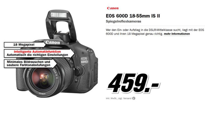 Canon EOS 600D Kit 18-55 mm (Canon IS II) © Media Markt