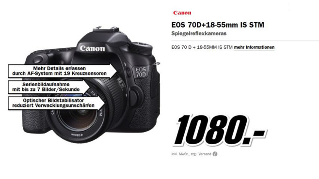 Canon EOS 70D Kit 18-55 mm (Canon IS STM) © Media Markt