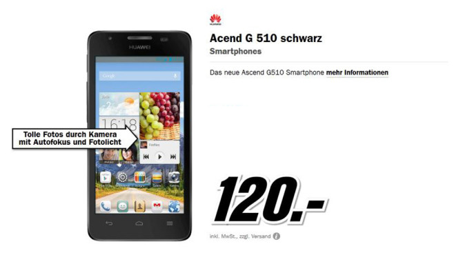 Huawei Ascend G510 © Media Markt