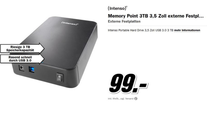 Intenso Memory Center 3TB © Media Markt