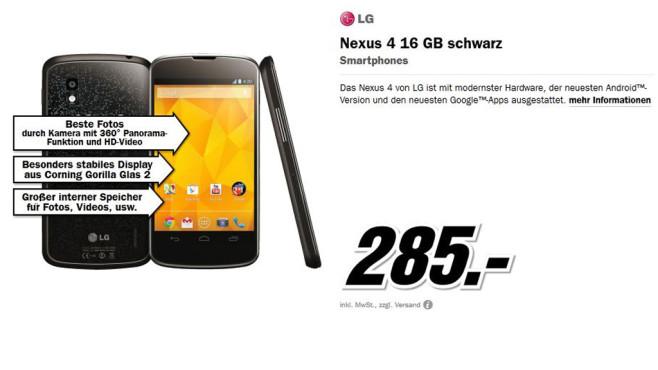 LG Nexus 4 16GB ©Media Markt