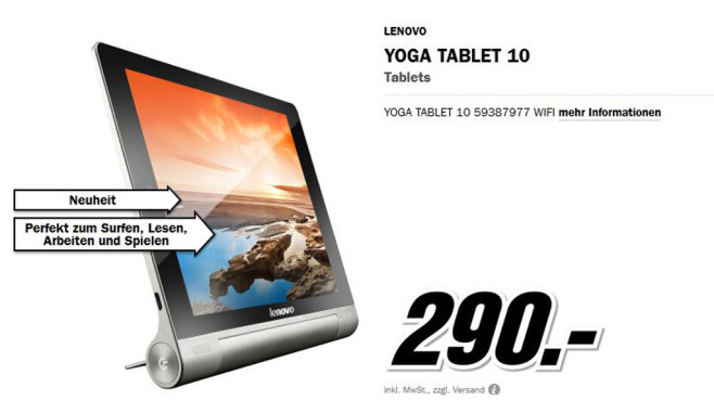 Lenovo Yoga Tablet 10 © Media Markt
