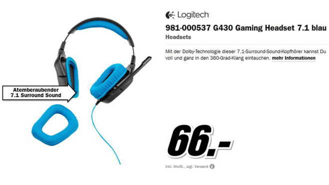 Logitech Surround Sound Gaming Headset G430 © Media Markt