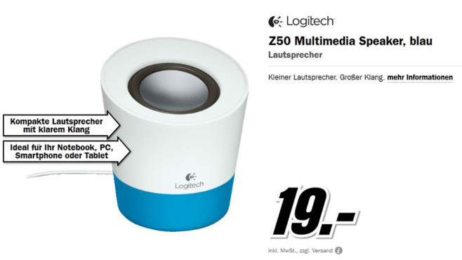 Logitech Z50 Multimedia Speaker © Media Markt