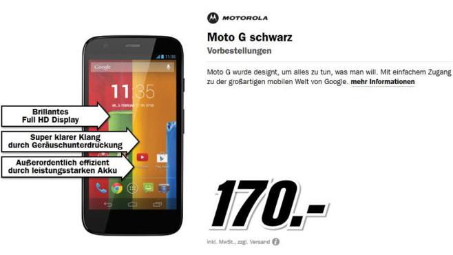 Motorola Moto G ©Media Markt