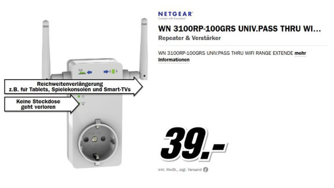 Netgear Universeller Pass-Through WLAN-Repeater © Media Markt