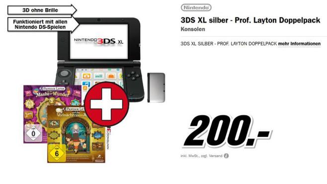 Nintendo 3DS XL - Prof. Layton Doppelpack ©Media Markt
