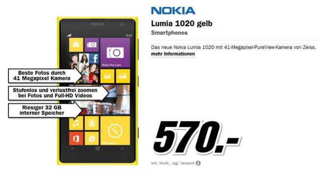 Nokia Lumia 1020 (gelb) ©Media Markt