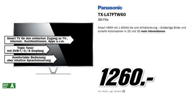Panasonic TX-L47FTW60 ©Media Markt