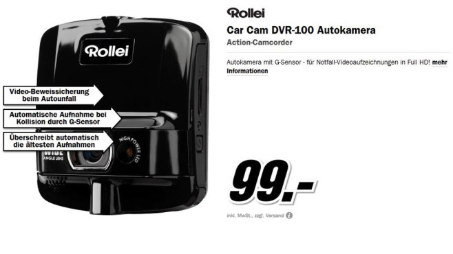 Rollei Car Cam DVR-100 Autokamera © Media Markt