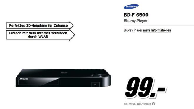 Samsung BD-F6500 ©Media Markt
