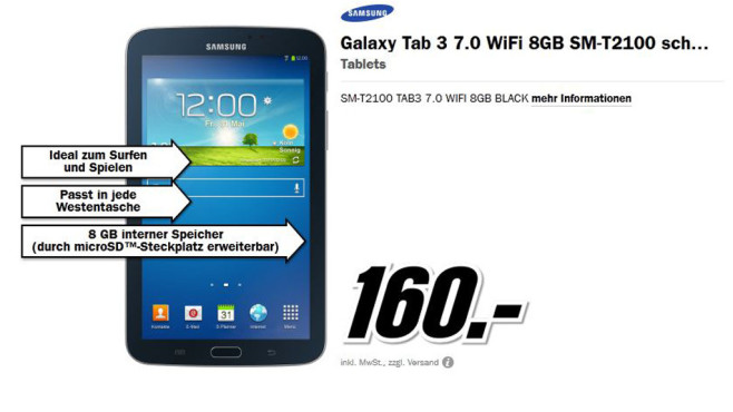 Samsung Galaxy Tab 3 (7.0) Wifi © Media Markt