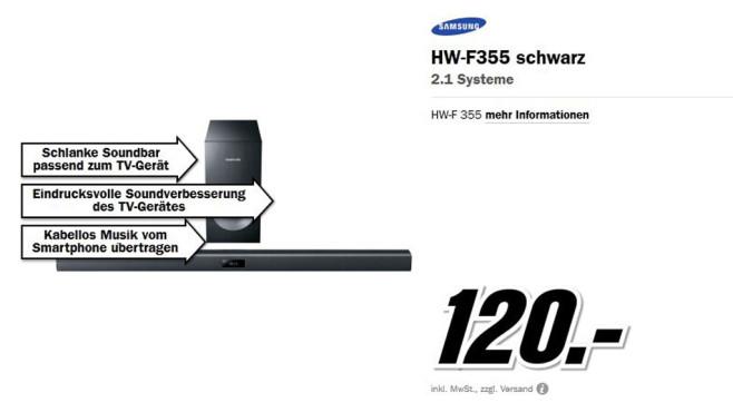 Samsung HW-F355 ©Media Markt