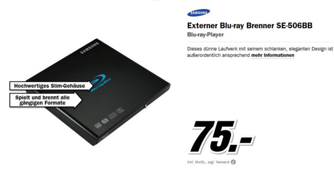 Samsung SE-506BB ©Media Markt