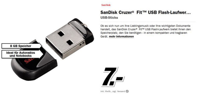 Sandisk Cruzer Fit 8GB © Media Markt