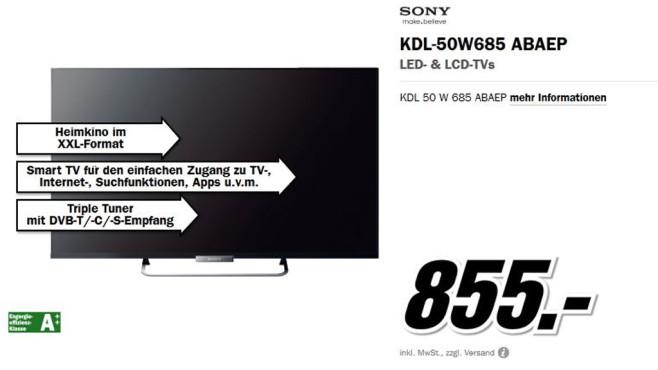 Sony KDL-50W685 ©Media Markt