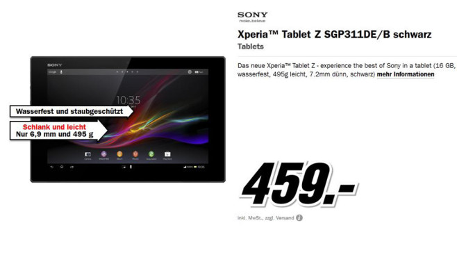Sony Xperia Tablet Z 16GB Wifi © Media Markt