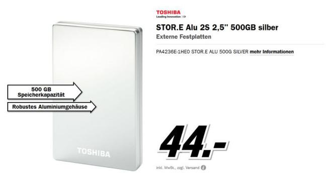 Toshiba Stor.e Alu 2S 500GB 2.5 ©Media Markt