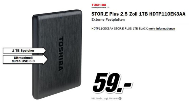 Toshiba Stor.e Plus 1T © Media Markt