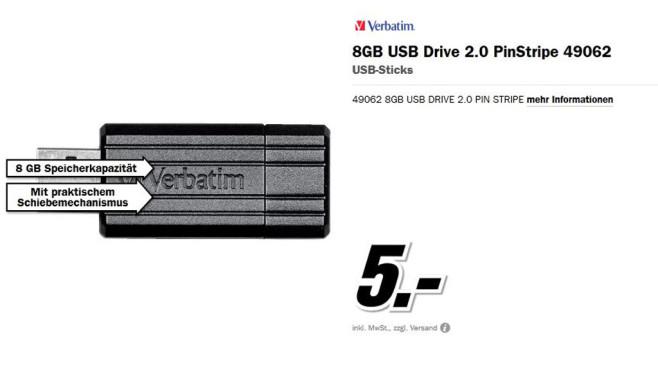 Verbatim Store 'n' Go PinStripe 8GB ©Media Markt