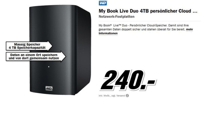 Western Digital My Book Live Duo 4TB © Media Markt