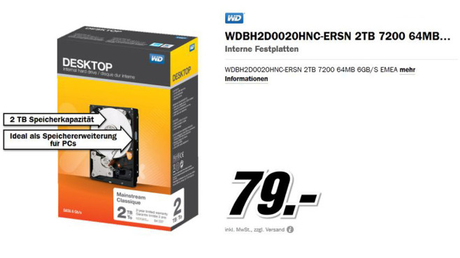 Western Digital SATA Retail Kit 2TB © Media Markt