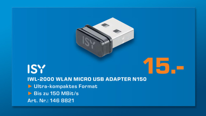ISY WLAN USB Micro Adapter N150 (IWL 2000) © Saturn
