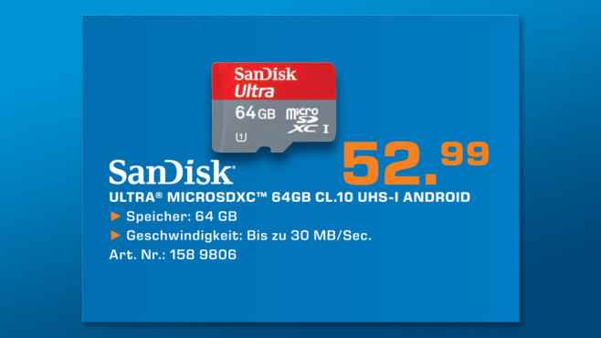 Sandisk Mobile Ultra microSDXC 64GB Class 10 UHS-I (SDSDQU-064G) ©Saturn