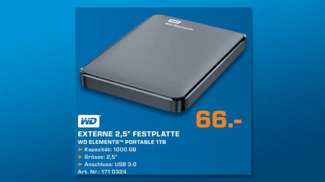 Western Digital Elements Portable 1TB (WDBUZG0010BBK) ©Saturn