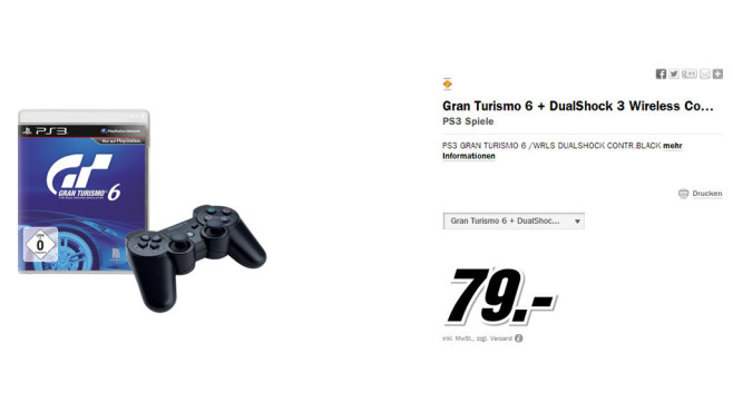 Gran Turismo 6 plus Dualshock-3-Controller (PS3) © Media Markt