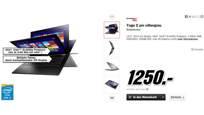 Lenovo IdeaPad Yoga 2 Pro (59386544) © Media Markt