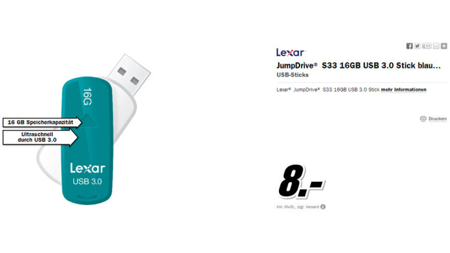 Lexar JumpDrive S33 USB 3.0 Stick 16GB (Türkis) © Media Markt
