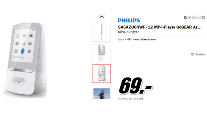 Philips GoGear Azure 4GB (SA5AZU04) © Media Markt