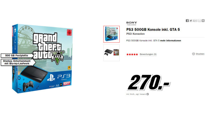 Sony PlayStation 3 (PS3) Super slim 500GB + Grand Theft Auto 5 (GTA 5) © Media Markt