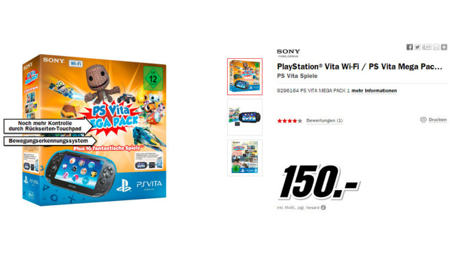 Sony PlayStation Vita Wi-Fi + PS Vita Mega Pack + Speicherkarte 8GB © Media Markt