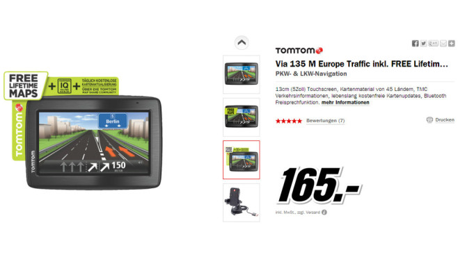 TomTom Via 135 M Europe Traffic © Media Markt