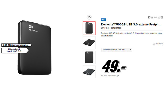 Western Digital Elements Portable 500GB (WDBUZG5000ABK) © Media Markt