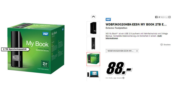 Western Digital My Book USB 3.0 2TB © Media Markt