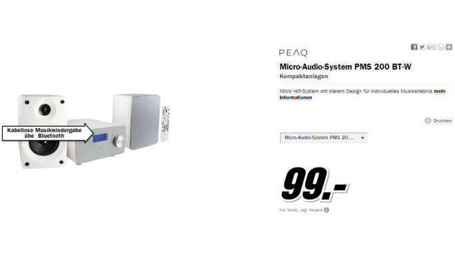 PEAQ Micro-Audio-System PMS 200 BT-W © Media Markt