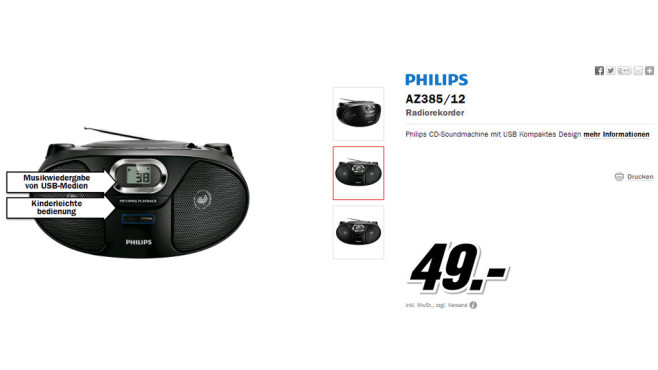 Philips AZ385 © Media Markt