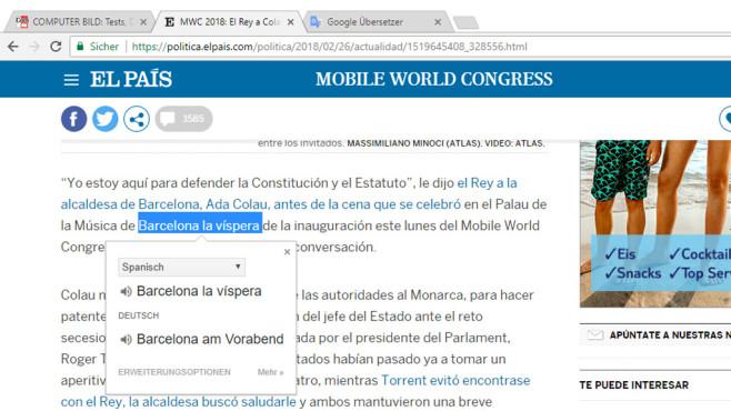 Google Translate für Chrome ©COMPUTER BILD