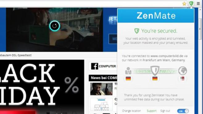 ZenMate für Chrome ©COMPUTER BILD