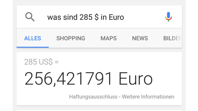 Was sind 285 US-Dollar in Euro? © COMPUTER BILD