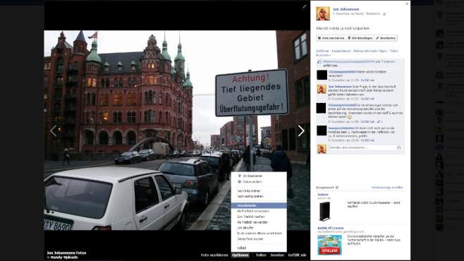 Fotos einzeln von Facebook herunterladen ©Jan Johannsen, Facebook / Screenshot COMPUTER BILD