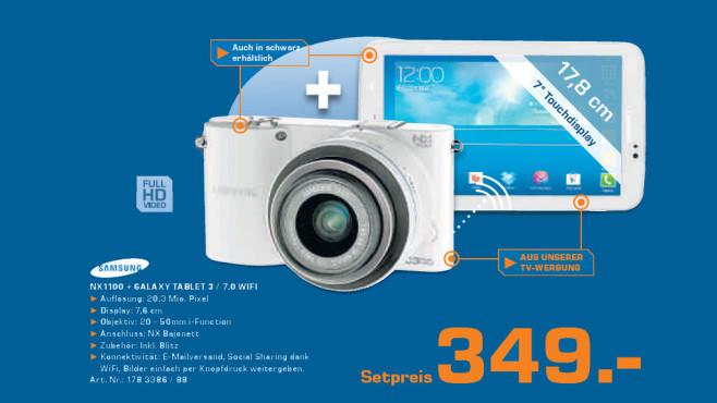 Samsung NX1100 inklusive Galaxy Tab 3 7.0 ©Saturn
