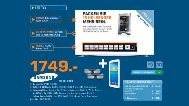 Samsung UE46F8090 inkl. zwei 3D-Brillen und Galaxy Tab 3 7.0 ©Saturn