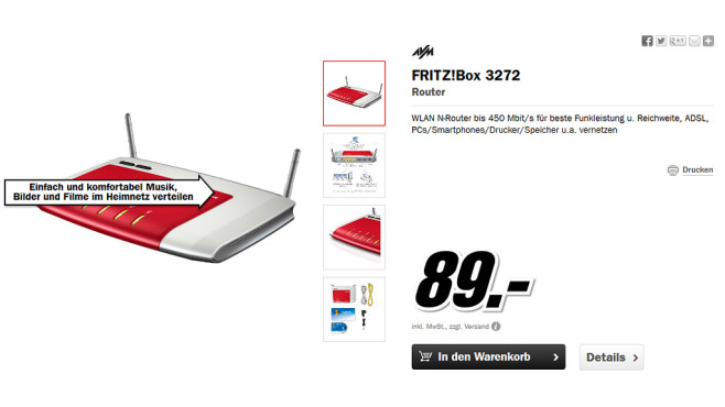 AVM FRITZ!Box 3272 © Media Markt