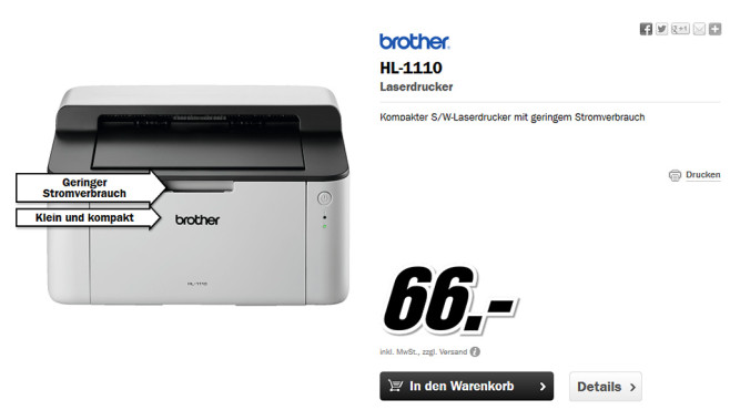 Brother HL-1110 © Media Markt