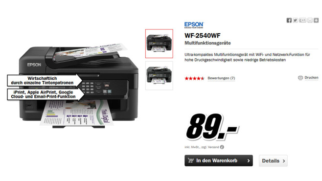 Epson WorkForce WF-2540WF © Media Markt