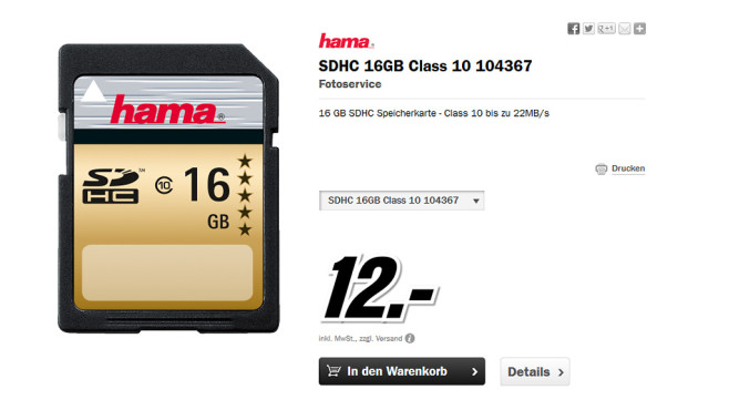 Hama SDHC Card HighSpeed Gold Class 10 © Media Markt